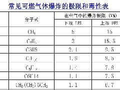 常见可燃气体爆炸的极限和毒性表excel表格下载